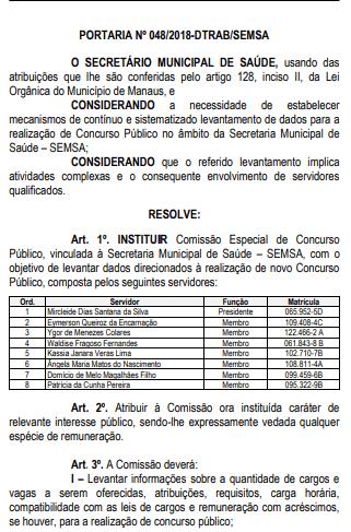 Portaria que instituiu a comissão especial do concurso SEMSA Manaus.