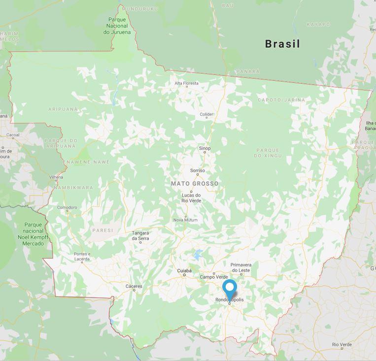 Concurso Prefeitura de Rondonópolis: mapa do estado do Mato Grosso