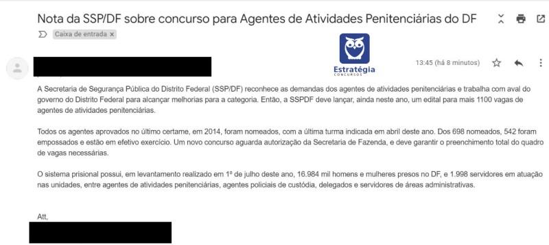 Concurso SESIPE DF: nota da SSP confirma novo edital com 1.100 vagas.
