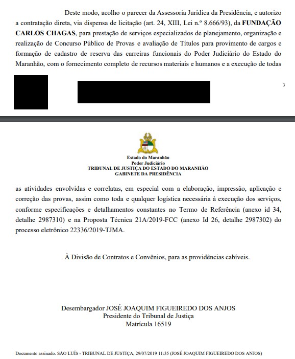 Concurso TJ MA: Presidente AUTORIZA contratação da FCC