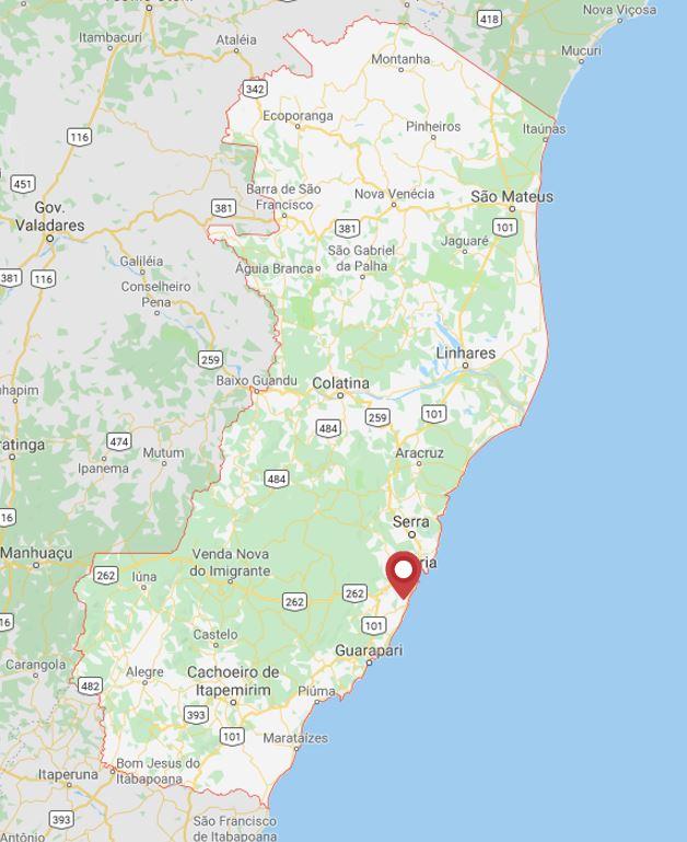 Concurso Vila Velha: mapa do estado do Espírito Santo