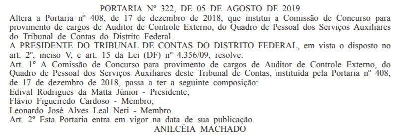 Concurso TCDF: segunda alteração na comissão de Auditor de Controle Externo