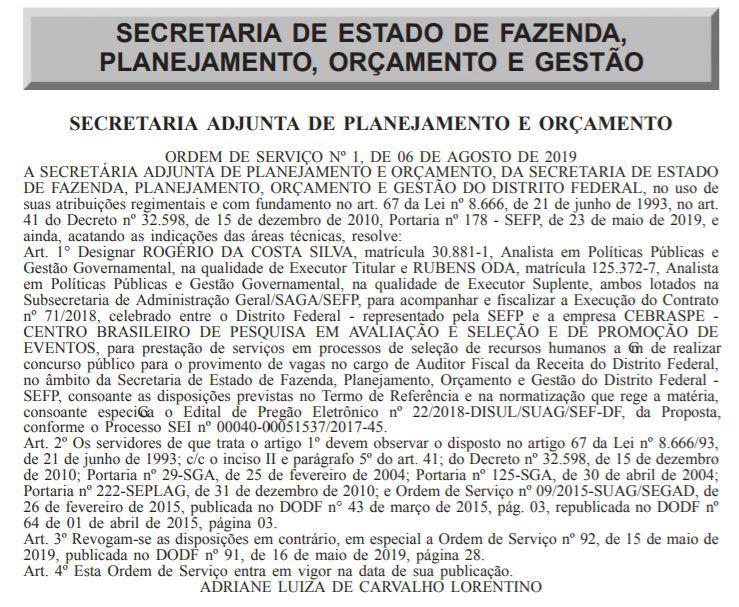 Concurso Sefaz DF: designação de servidores para companhar e fiscalizar os trabalhos do Cebraspe