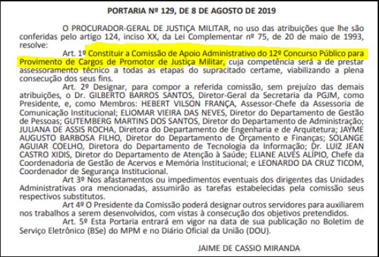 Confira abaixo o documento que revela os integrantes da comissão organizadora do certame