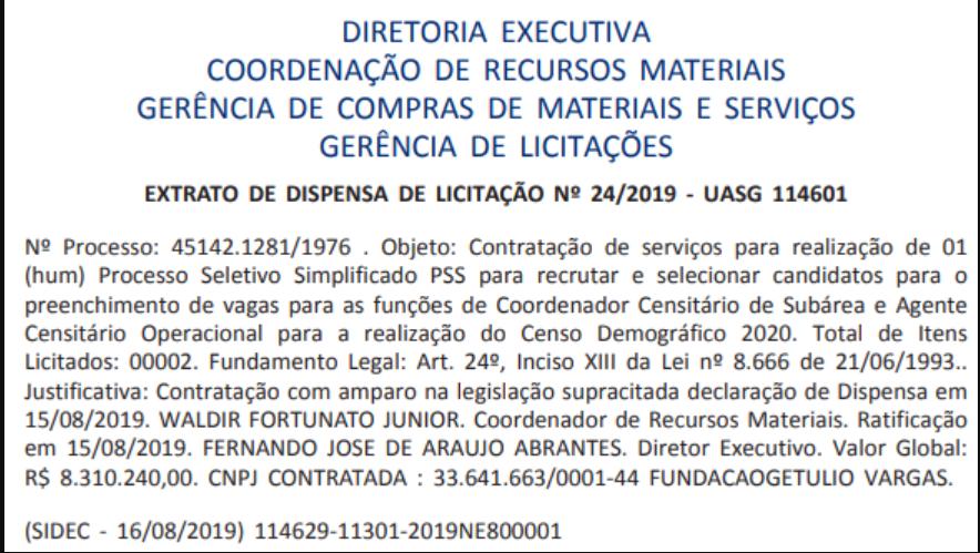 Confira abaixo o documento que revela a contratação da FGV como banca