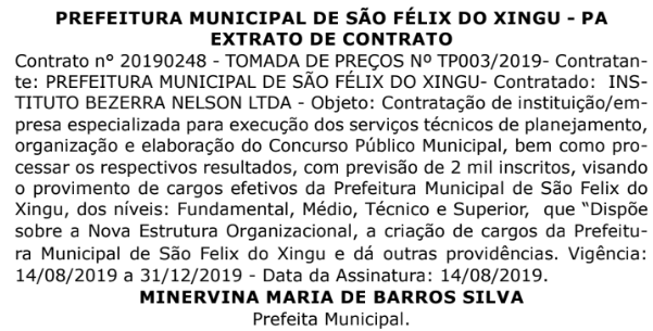 Extrato de contrato que define a banca do concurso Prefeitura São Félix do Xingu.