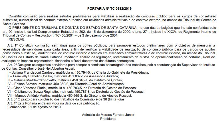 Concurso TCE SC: Presidência nomeia comissão para estudar viabilidade de concurso.