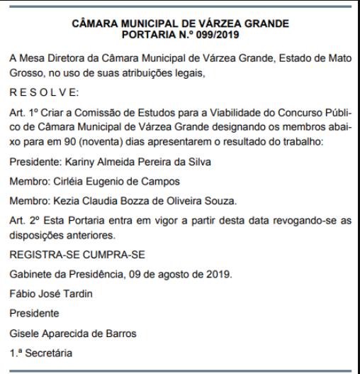 Confira abaixo o documento que revela a comissão organizadora do certame