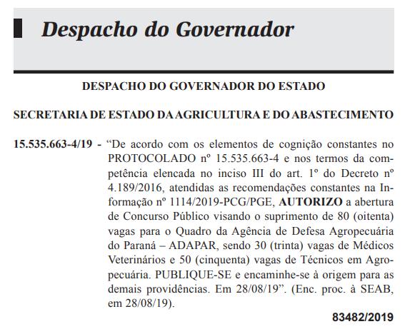 Autorização concurso ADAPAR