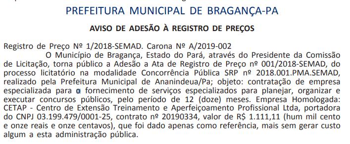 Extrato de contrato do concurso Prefeitura de Bragança