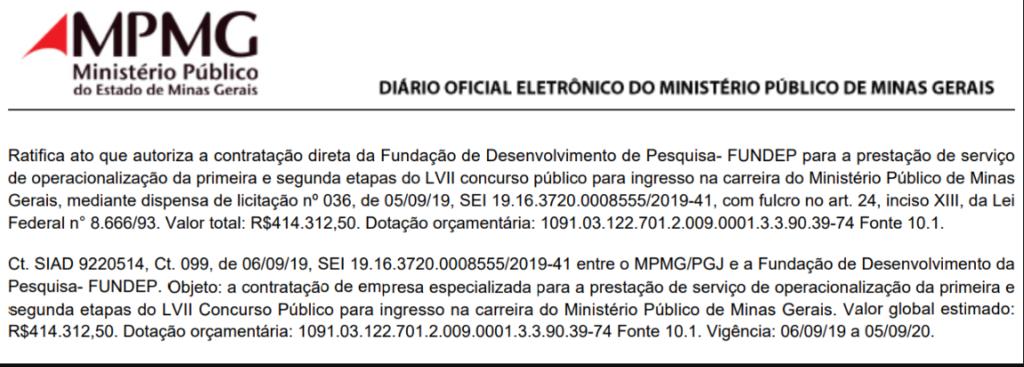 Abaixo você confere o documento que revela a FUNDEP como banca do certame