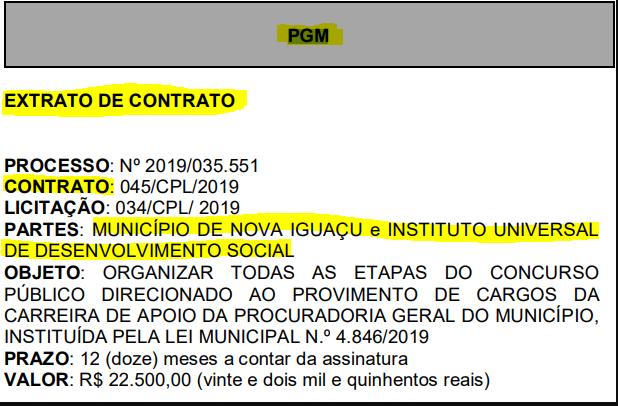 Confira abaixo o extrato do contrato que oficializa o IUDS como banca