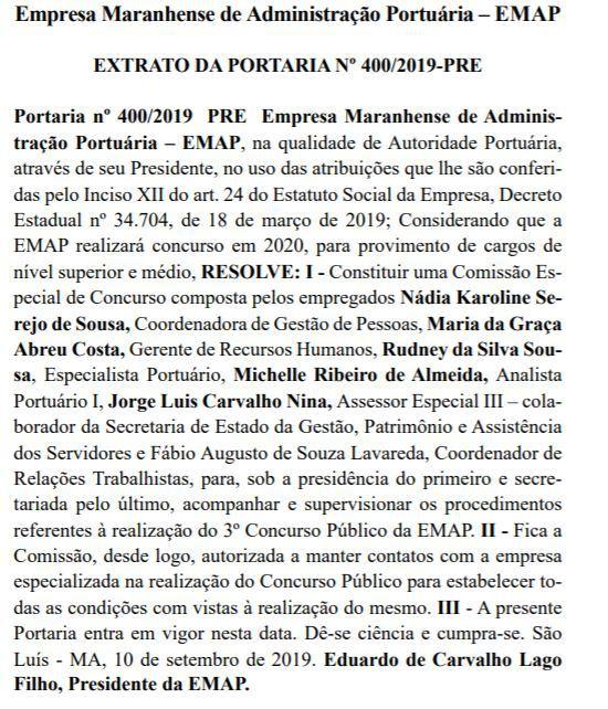 Concurso EMAP MA: comissão formada