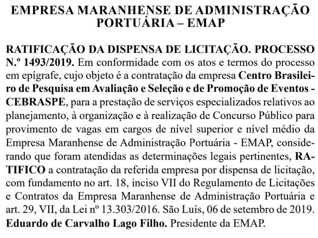 Banca organizadora do Concurso EMAP MA