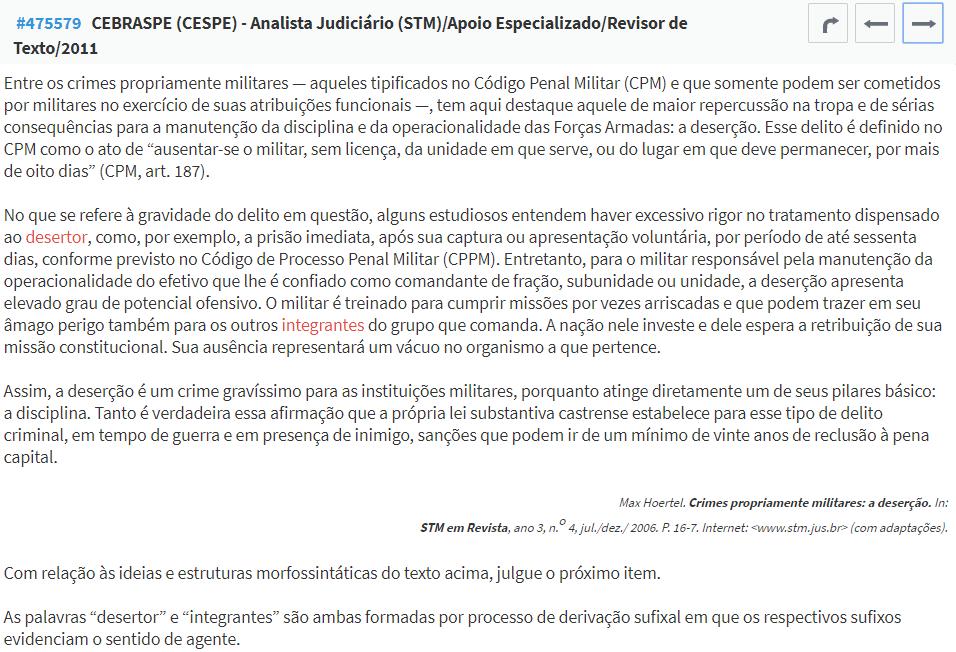 questão Cespe Português