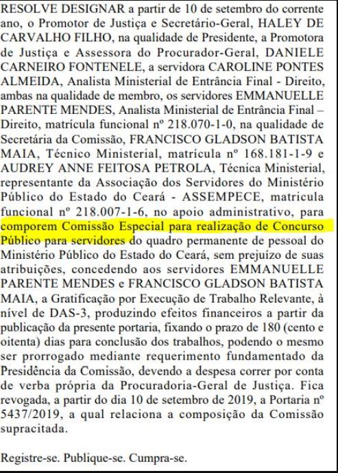 Confira abaixo o documento que revela a nova comissão organizadora do certame: