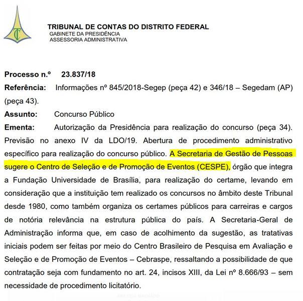 Banca organizadora sugerida para o concurso TCDF
