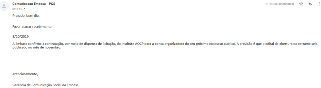 Instituto AOCP é confirmado como banca do novo Concurso EMBASA