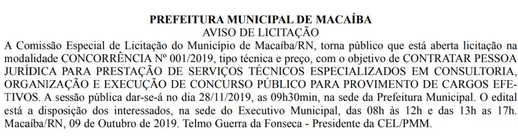 Concurso Prefeitura de Macaíba: Abertura de licitação