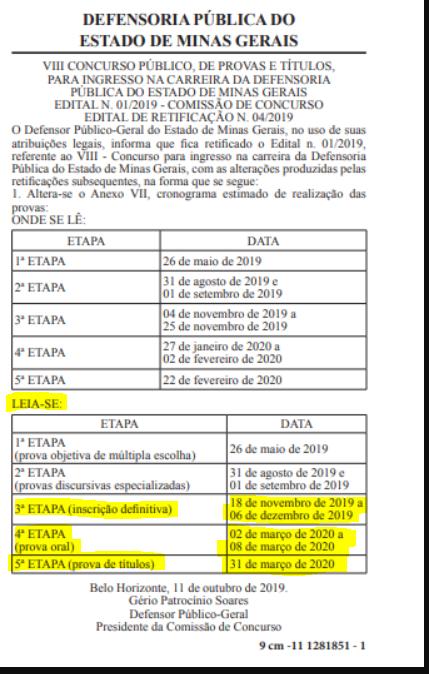 Novo cronograma de provas do concurso DPE MG Defensor