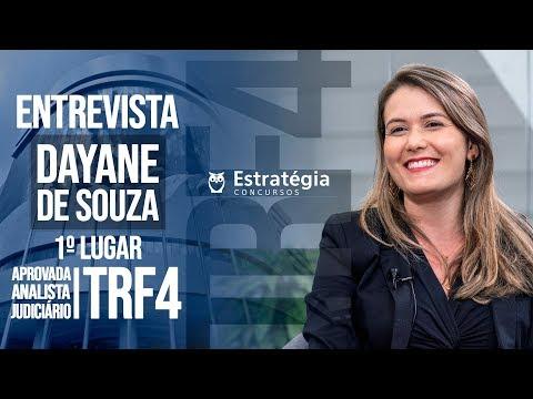 ENTREVISTA EM VÍDEO: Dayane Cristina de Souza Reis - Aprovada no concurso TRF 4 em 1° lugar para Analista Judiciário área Judiciária na região Norte/PR