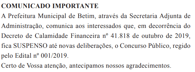 Suspensão do Concurso Prefeitura de Betim