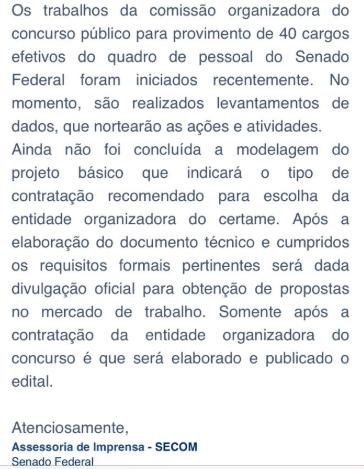 Nota do Senado Federal dando informações sobre a estrutura do concurso