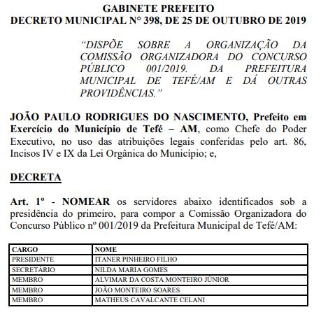 Comissão formada do concurso Prefeitura de Tefé