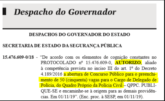 Despacho do Governador para abertura de concurso público para a PC PR