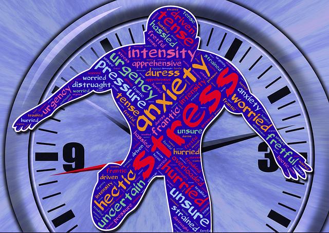 Preocupação com o que não está no seu controle causa ansiedade e estresse. Imagem de homem no relógio e corpo cheio de estresse, ansiedade, tensão.