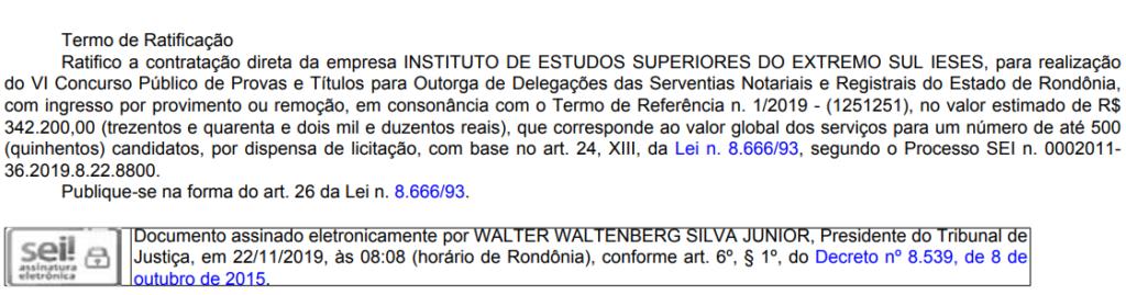 Concurso Cartório RO: banca definida.