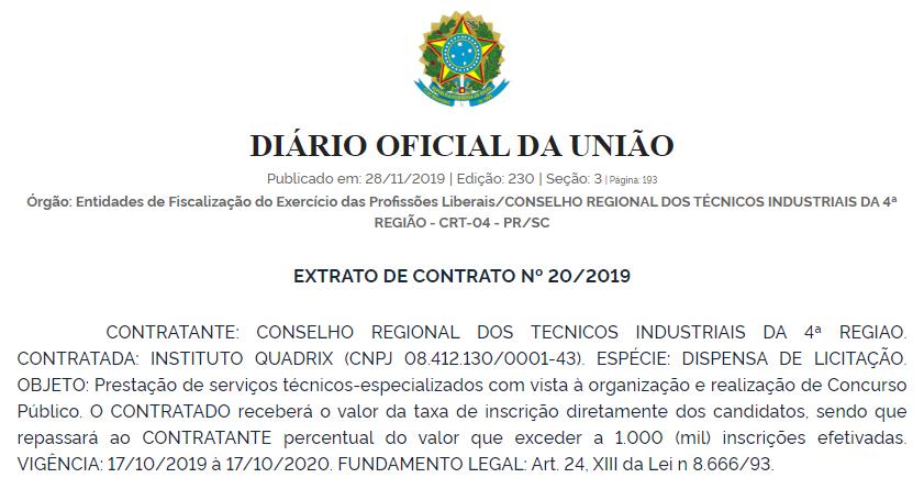 Extrato de contrato que oficializa o Quadrix como banca do certame