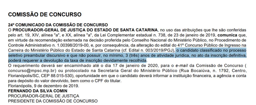 Concurso MP SC Promotor: comunicado da comissão do certame.