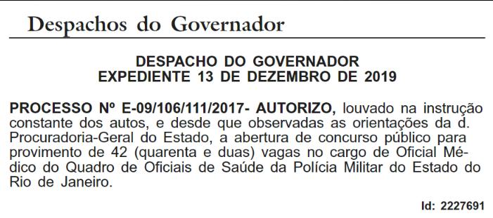 Despacho do governador para concurso PMERJ saúde