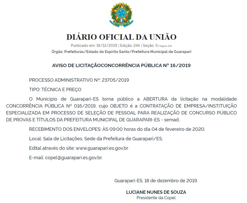 Licitação que visa contratar a banca do concurso Prefeitura de Guarapari