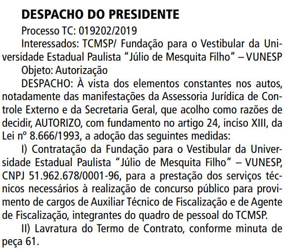 Concurso TCM SP: banca Vunesp é escolhida como organizadora.