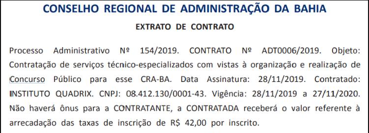 Extrato do contrato firmado entre o CRA BA e o Quadrix