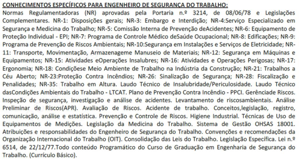 Exemplo de edital específico  para o cargo de Engenheiro(a) de Segurança do Trabalho  - Prefeitura de Itu/SP, 2019.