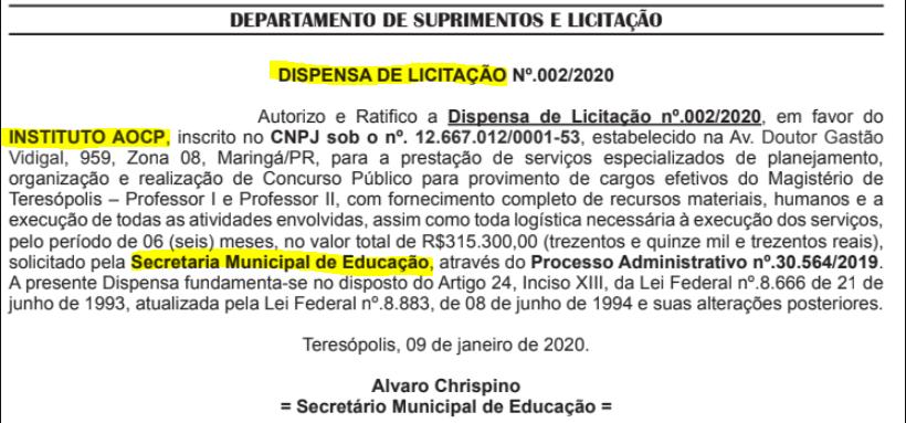 Dispensa de licitação que oficializou o Instituto AOCP como banca.