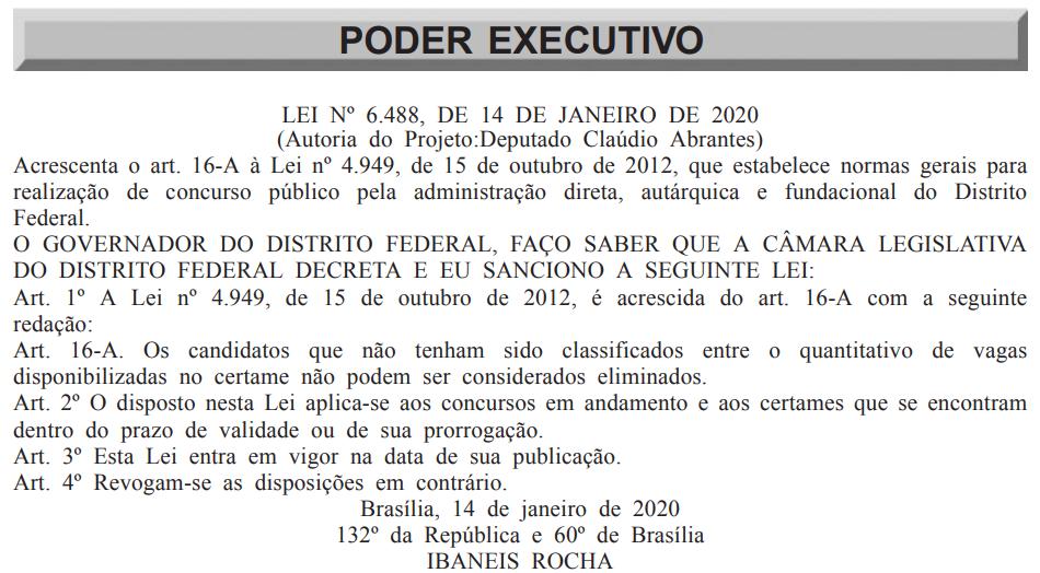 Transcrição da lei número 6488 sobre Concursos DF