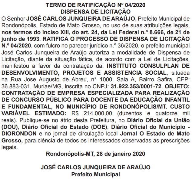 Banca organizadora do Concurso Prefeitura de Rondonópolis