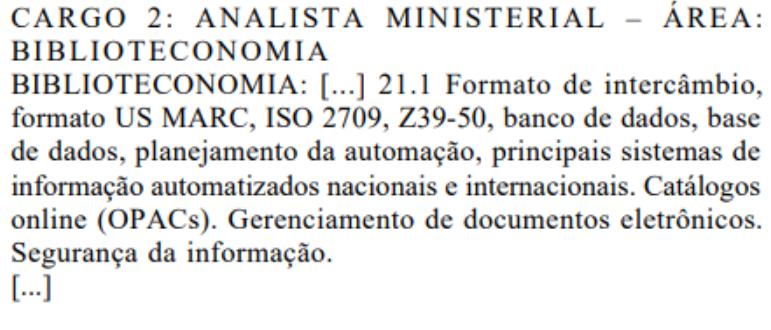 Retificação dos conhecimentos específicos do cargo de Analista Ministerial - Biblioteconomia