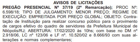 Concurso Prefeitura de Nilópolis: Aviso de Licitação