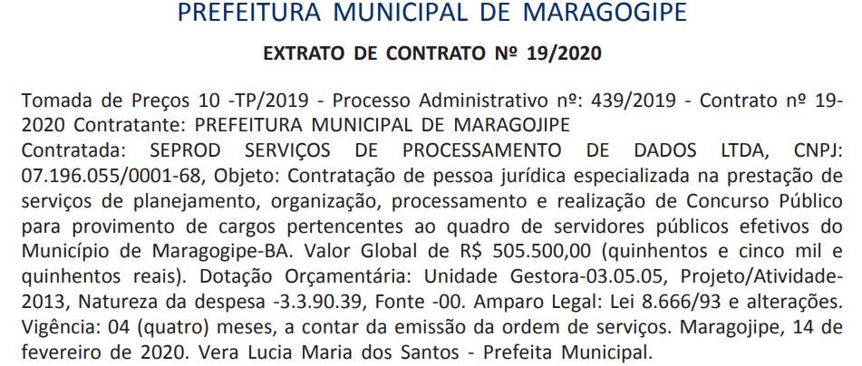 SEPROD é definida como banca organizadora do concurso Maragogipe