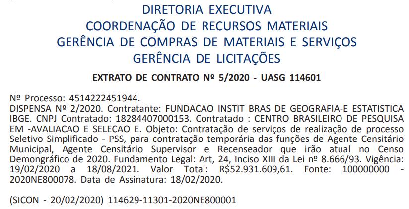 Extrato de Contrato com o Cebraspe para organizar o concurso IBGE para mais de 200 mil vagas