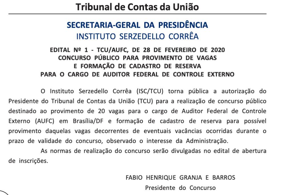 Autorização do Concurso TCU