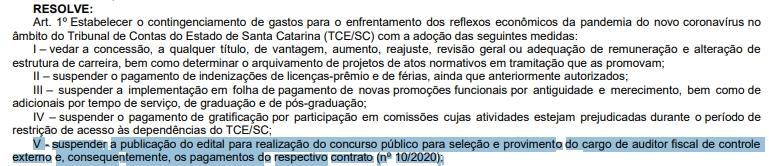 Comunicado de suspensão do concurso TCE SC