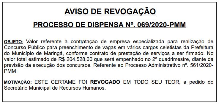 Aviso de Revogação do concurso Maringá para quadro Geral