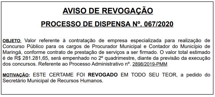 Aviso de Revogação do concurso Maringá para Procurador e Contador