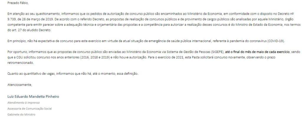 Resposta encaminhada pela CGU em maio por e-mail